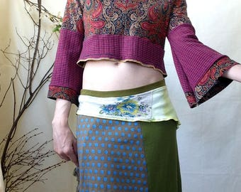 Upcycled Top, Medium, Crop Top, Keyhole Top, Paisley, Bell Sleeve, Magenta, Colorful, Keyhole Crop, Remade Top, Upcycled Crop, Belly Top,Red