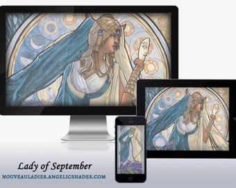 Lady of September Art Nouveau Celestial Moon and Sun Equinox Goddess Birthstones Birth Flowers Wallpapers for Desktop, Phone, and Tablet