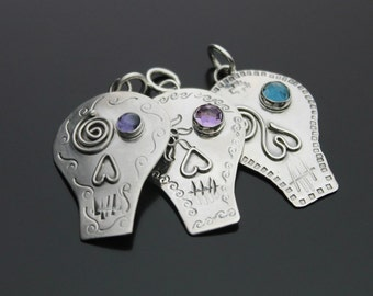 MADE TO ORDER - Sterling Silver . Sugar Skull . Day of the Dead . Pendant