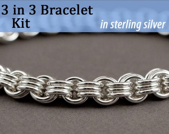3 in 3 Chainmaille Bracelet Kit in Sterling Silver