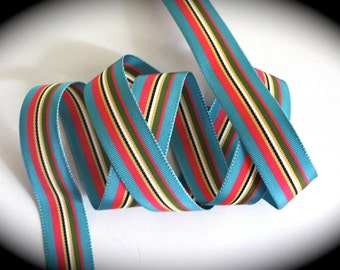 """Acetate Ribbon - 7/8"""" x 2 yards  - Teal Blue, Shocking Pink, Olive, White, Black Striped Ribbon - Gorgeous Color - Darker in Person"""