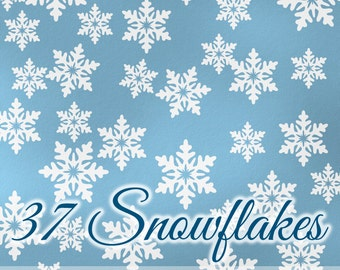 Winter Snowflakes Decals - Winter Wonderland, Winter Onederland Birthday Party Decorations, Vinyl Wall Decals, Holiday Decor
