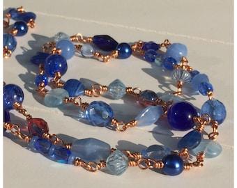Bold statement necklace, artisan Copper wirewrapped beaded necklace, blue glassbeads, hippie, bohemian, boho style
