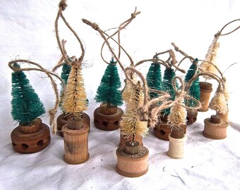 Handmade Christmas Tree Ornaments Spool Trees Tinker Toy Trees Bakers Dozen Set Handmade Christmas Ornaments Home or Office Gift Set Decor