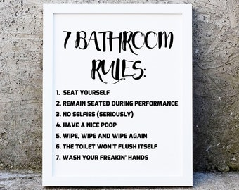 Funny Bathroom Art Etsy