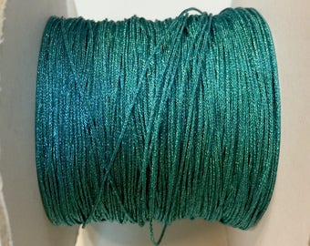 5 meters of nylon cord braided metallic 0.70 mm turquoise for creations of jewels