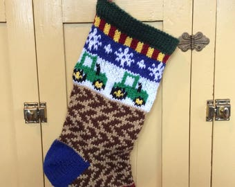 Hand knit Christmas stocking, lined