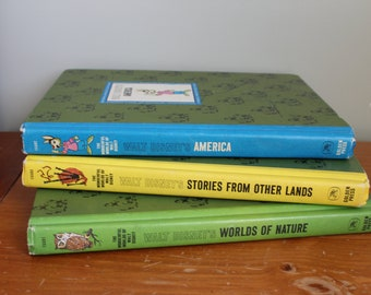 Three Wonderful Worlds of Walt Disney Hardback Books, 1965 America, Worlds of Nature, and Stories from Other Lands, 7.75x10.5 Inches Each