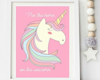 Pin The Horn On Unicorn Party Game Games