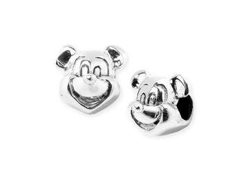 925 sterling silver Mickey mouse PS0268BK P0247 big hole bead