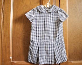 60s 70s Toddler Size 3 Plaid Peter Pan Collar Dress