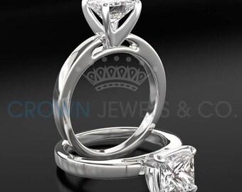 Diamond Ring Women Princess Cut Engagement Ring 2.30 Carat H SI2 Certified Diamond 14K White Gold Ring
