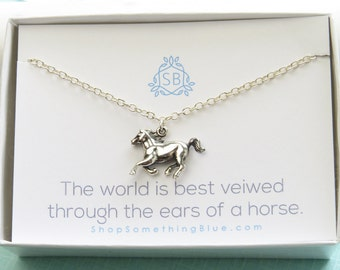 Horse Necklace • Galloping Horse Charm • Horse Lover Gift • Horse Jewelry • Equestrian Necklace • Running Horse Pendant • Pony Charm • H01