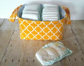 Gold Lattice Fabric Storage Basket - Diaper Caddy - Toy Storage