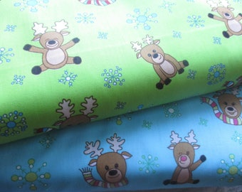 SALE: Reindeer Prancing on Christmas Cottons by the Half-Yard