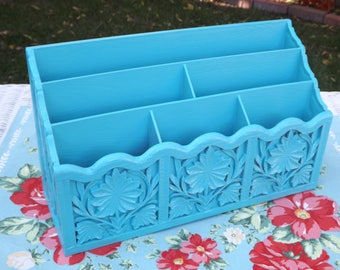 Vintage Upcycled Lerner Desk Organizer/Letter Holder/Bill Caddy/Beach Blue Office Organizer/Home and Living/Shabby Chic Home Decor/Ornate