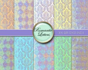 Digital paper pack pastel Damask scrapbook paper pack Pastel digital textured background paper newborn backdrop photo  background paper pack