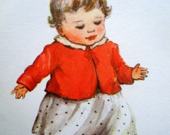 1962 BABY FIRST STEPS print by Betty Paterson
