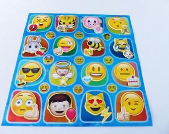25 stickers emoticon emoji smiley 16 embossed 19.5 X 19 cm