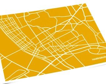 Harrisburg PA Line Map Wall Art / Pennsylvania City Map Print / 8x10 / Custom colors available