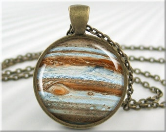 Jupiter Pendant Necklace, Planet Jupiter Resin Charm, Jupiter Space Jewelry, Space Gift, Resin Pendant, Round Bronze Pendant 382RB