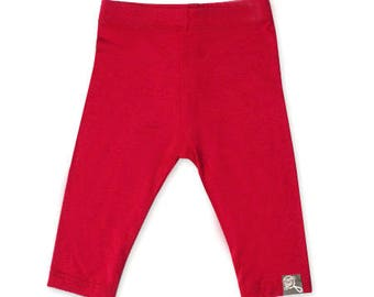 Plain red baby, bamboo rayon leggings