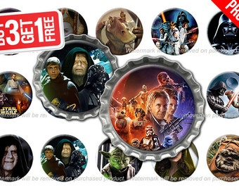 Star Wars Bottle Cap Images - 1 inch size - Suitable for Hair Bows, Magnets, Scrapbooking, Stickers etc - High Resolution Images
