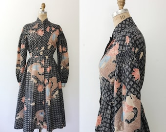 Vintage 70s dress / Winter floral dress / d'Accord dress