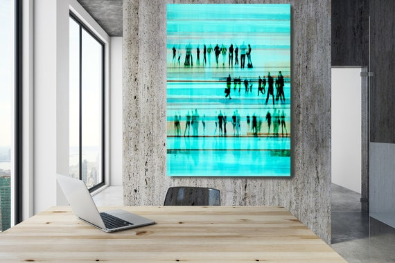 """Going To Work 3,  Art for Your Office, Office Wall Art, Teal Corporate Office Decor, Extra Large Canvas Art Print up to 72"""" by  Irena Orlov"""