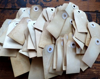 100 Plain Vintage Style Tea Dyed Gift Tags