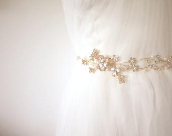 Gold Bridal Sash Bridal Belt Gold Belt Gold Sash Bohemian Belt Garden Wedding Flower Belt Beaded Belt Crystal Belt #36