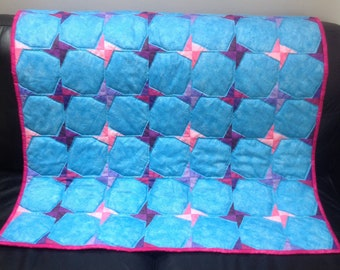 "Handmade quilt 45"" x 35"" blue with pink/purple stars"