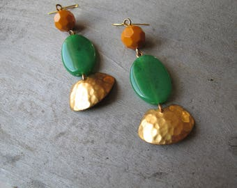 Jade Green Beaded Dangles, Hammered Brass Charm Earrings, Limited Edition Line, One of a Kind Earrings, Colorful Bead Bold Earrings