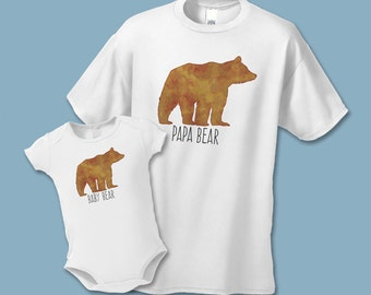 Father's Day - Papa Bear and Baby Bear Matching Shirt Set (2 shirts) - Father Daughter, Son, Daddy Baby Shirt Sets - The Adventure Begins