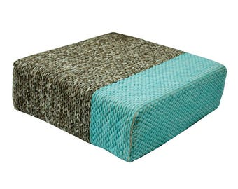 Handmade Wool Braided Square Pouf | Natural/Pastel Turquoise | 90x90x30cm | Handwoven Ottoman Floor Cushion