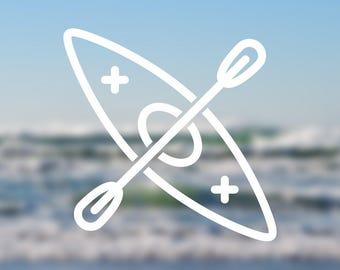 Kayak Icon Vinyl Decal   Water Bottle Decal   Car Window Decal   Laptop Decal