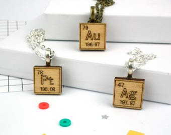 Wooden Periodic Table Necklace - Element Symbol Necklace - Gold Necklace - Chemical Element - Science Jewelry - Silver Necklace - Atomic