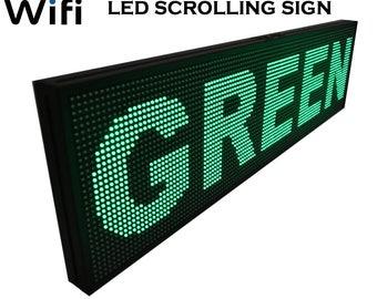 52 x 15 pouces - vert Ecran LED défilement signe avec Wifi, application Mobile connectivité - pour un usage intérieur, semi-extérieur Marketing