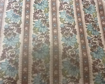 Aqua and brown flowered stripe polished cotton fabric 36 inches wide