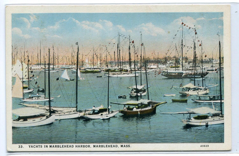 Yachts Sail Boats Marblehead Harbor Massachusetts 1920s