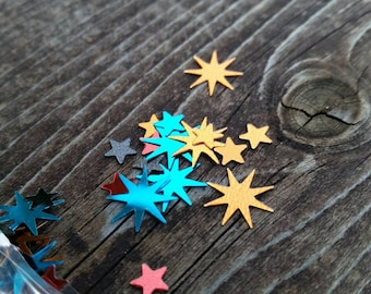 Little Red, Gold, and Blue Stars and Starburst Confetti in metallic - 4mm and 10mm - Boy's Birthday Party Supplies and Decorations