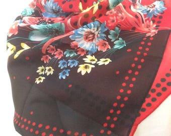 Red Wild Flowers Chiffon Scarf