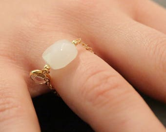 Chain gold and square glass ring
