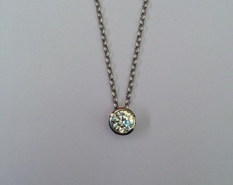 Sterling silver CZ pendant 6mm rhodium plated 16inch chain