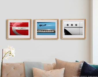 Wheels 3H Print Collection.  Detail photography, vintage cars, red, blue, white, wall art, artwork, large format photo.