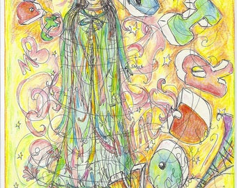 My  Favourite Coat  of  Many  Colours.  .. /   colourful,  spiritual, illustration , energy soulful drawing