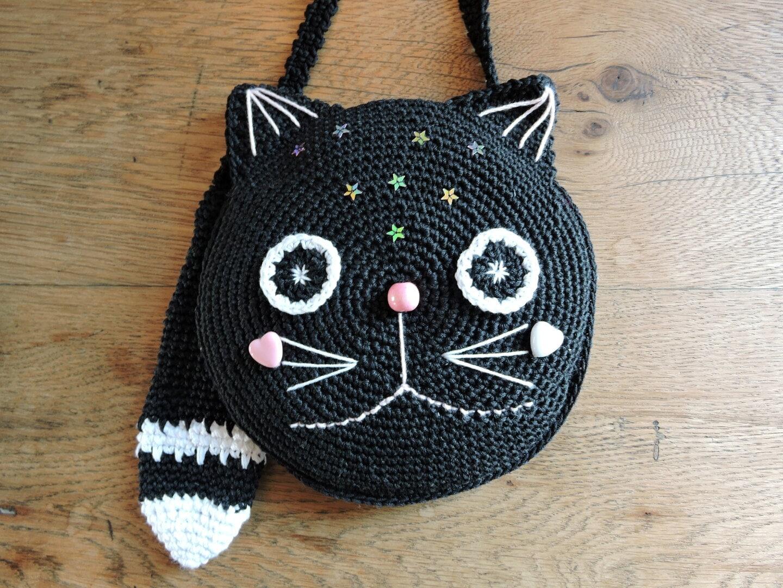 CROCHET PATTERN. OREO the cat . Crochet purse