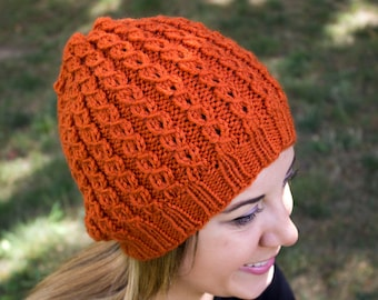 Pumpkin Orange Slouchy Knit Hat - Orange Vegan Hat - Boho Hat - Hipster Hat - Hippie Hat - Womens Tam - Mens Beanie - Unisex Hat