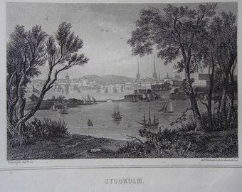 Engraving. Stockholm. Sweden. Published by while in Paris (France). The 19th century engraving (1819-1859)