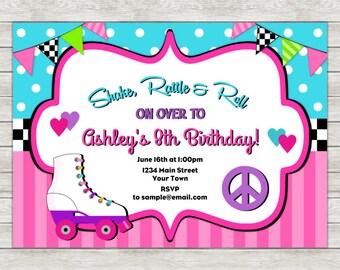 Roller Skate Birthday Invitation, Skate Party Invitation - Digital File (Printing Services Available)